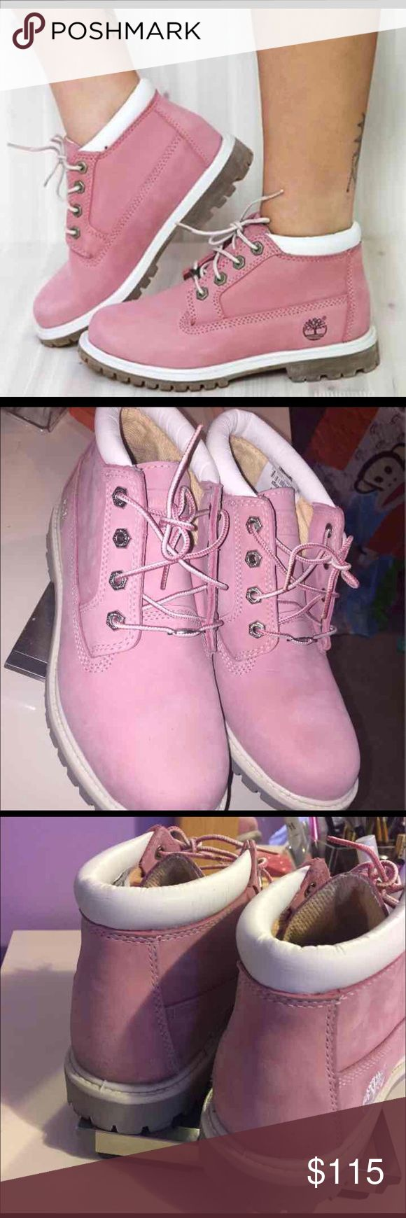 Women's Pink Timberland boots size 7.5 Bought these online thru Ladies foot locker for $135 plus tax and shipping, wore them a couple times and I just don't have the clothes to wear these with, they are very very comfortable and the cutest shoes ever... very firm with price they are in excellent condition, had I kept my receipt I would return but I was sure I was keeping these ... Timberland Shoes Ankle Boots & Booties