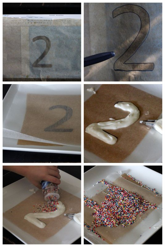 how to make a sprinkled cake topper... would be cool to do initials for a wedding cake...sprinkle themed...