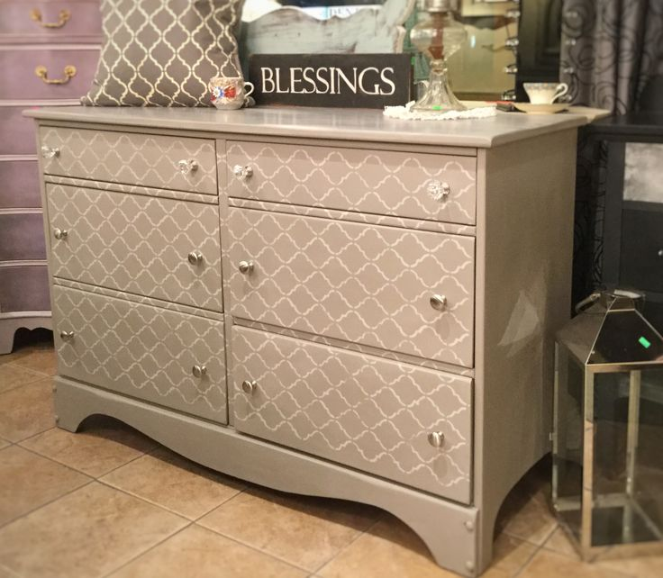 Dresser or tv cabinet, entranceway, painted in French linen and stencilled. Chalkpaint™ by Annie Sloan