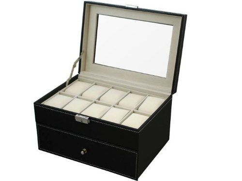 TMS® Black Leather 20 Grid Jewelry Watch Display Organizer Gloss Top Box Case Large – House of Compliments