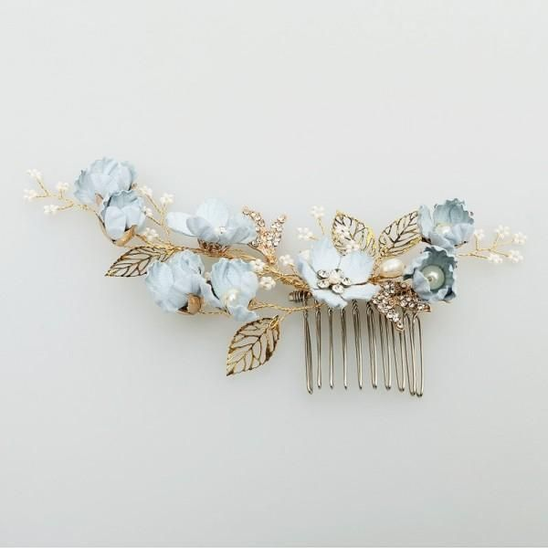 Anna Blue Flower Bridal Hair Comb And Hair Pins Bridal Jewelry