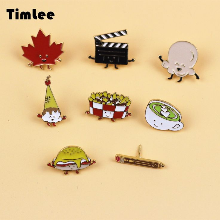 X072 Cartoon Ice Cream Maple Leaf Popcorn Cute Hamburger Design Metal Brooch Pins Gift Wholesale