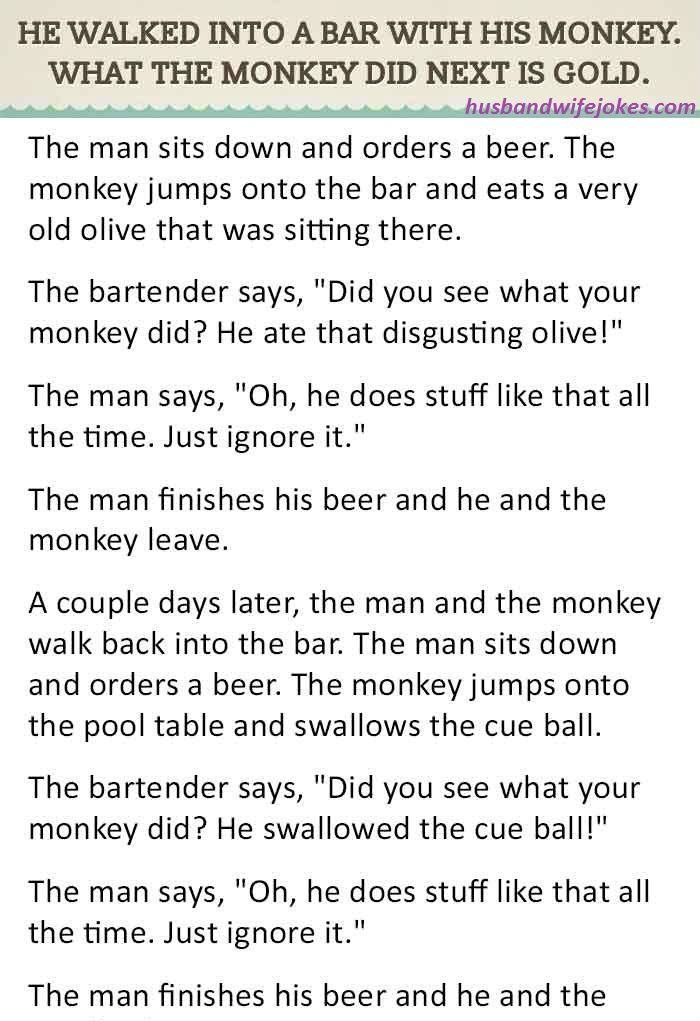 Monkey Bar Joke : monkey, WALKED, MONKEY., Trivota, Funny, Stories,, Jokes,, Couples, Jokes
