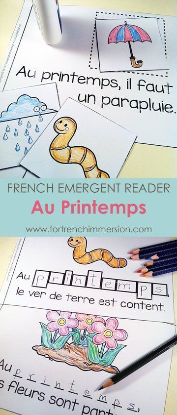 """French Spring Emergent Reader: Au Printemps. Kids will be working with the focus sight word by writing, cutting and pasting, tracing, reading, and more! Includes many size options and a """"big classroom book"""" in color and B&W. Fun and effective printable for the French Immersion classroom! Pour le printemps!"""