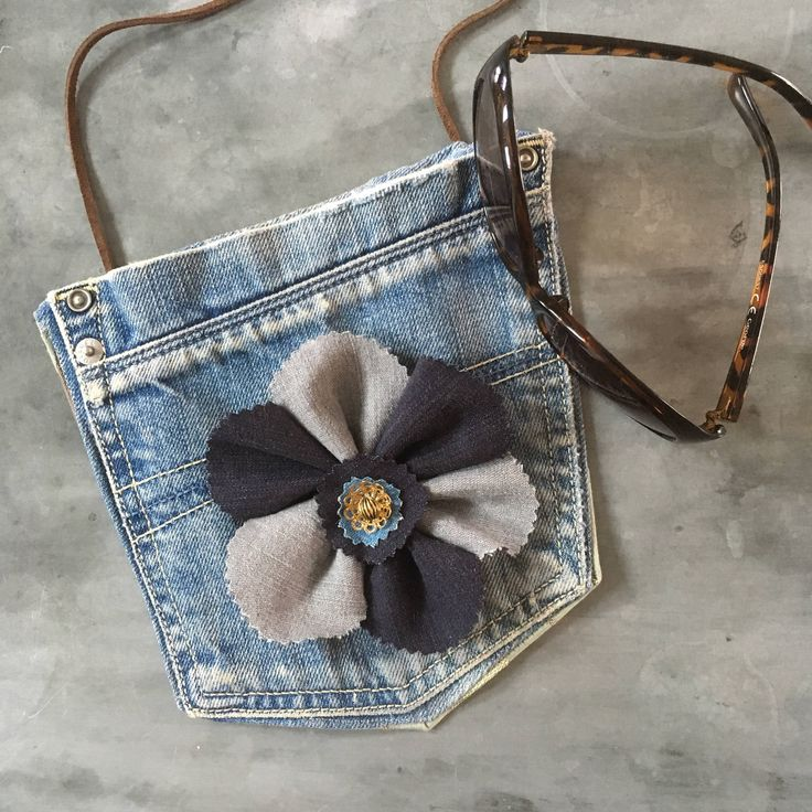Jeans Pocket bag, Denim flower handbag, Cross body bag, Festival accessories, Upcycled fabric purse,  Summer girls wear, Long strap jeansbag by ShabbySheUK on Etsy