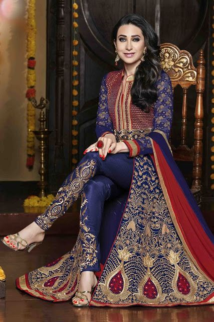Z Fashion Trend: BLUE LACE WORK AND EMBROIDERED ANARKALI WITH PANT