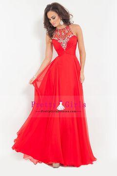 2015 Prom Dresses A Line Sleeveless Floor Length Chiffon Zipper Up Back Red $ 119.99 PGDPBA5C5ZK - PrettyGirlsDresses.com