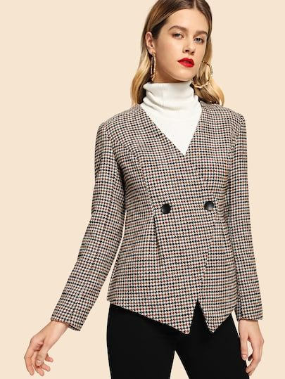 434a07496c Button Front Plaid Print Coat   SheIn Online Shopping in 2018 ...