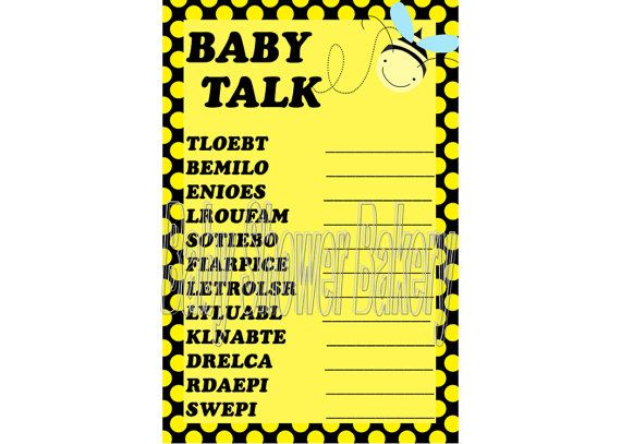Bumble Bee Theme Baby Shower Game Word Scramble Printable Mommy To