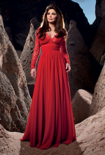 Lace sleeves, red evening maxi dress