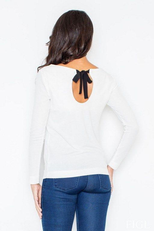 Sweterek damski  z długim rękawem w odcieniach ecu