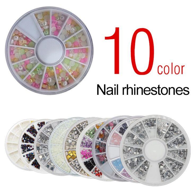 Saviland 1ピース爪ラインストーン光沢のあるdiyのネイルツール3dアクリルアートデコレーションラインストーン10色選べる
