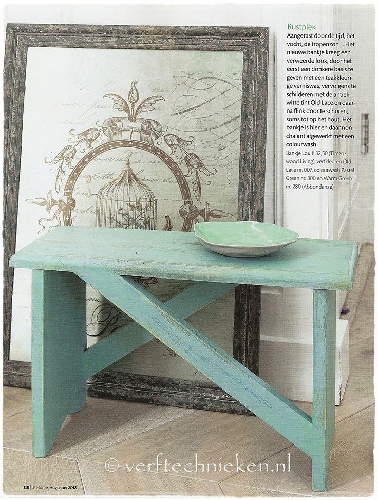 Bijdrage van verftechnieken.nl aan de 'Oase-groen' Ideeëngids in ariadne atHome, juli 2013 ♥ bankje in colourwash met Abbondanza krijtverf