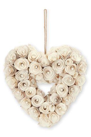 Coeur de roses en bois crème fabriqué à la main