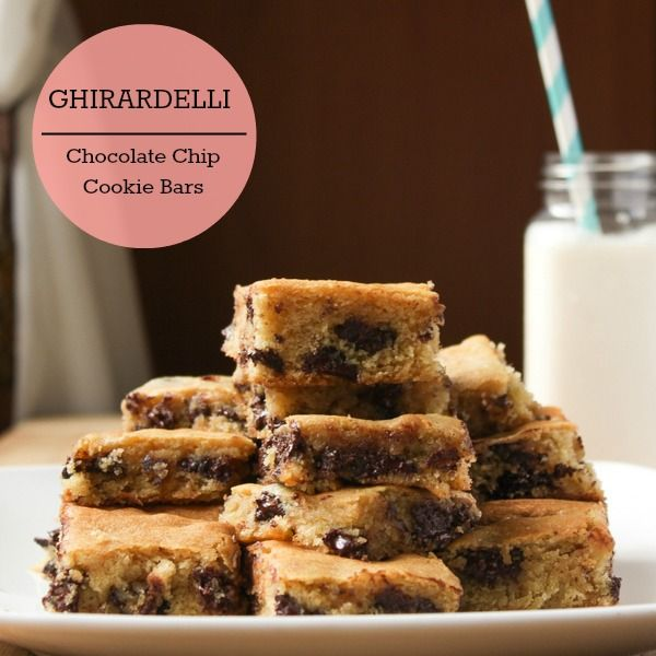 Ghirardelli Chocolate Chip Cookie Bars | http://theblog.jessikerbakes.com/ghirardelli-chocolate-chip-cookie-bars/