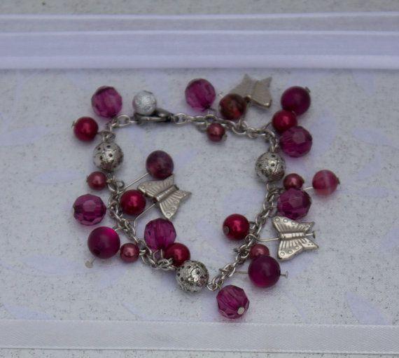 Pink Beaded Butterfly Charm Bracelet
