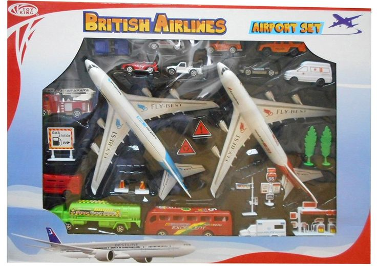 British Airlines Twin Plane Airport Set With Two Extra Large 30cm Aeroplanes Plus Vehicles And Accessories: Amazon.co.uk: Toys & Games