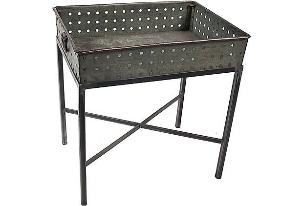 "A zinc table from Will Wick and Battersea 769.00. Imagine this at the end of the yellow sofa chockablock with ferns and a few requisite yellow spider orchids. (29""W x 21""D x 31""H)"