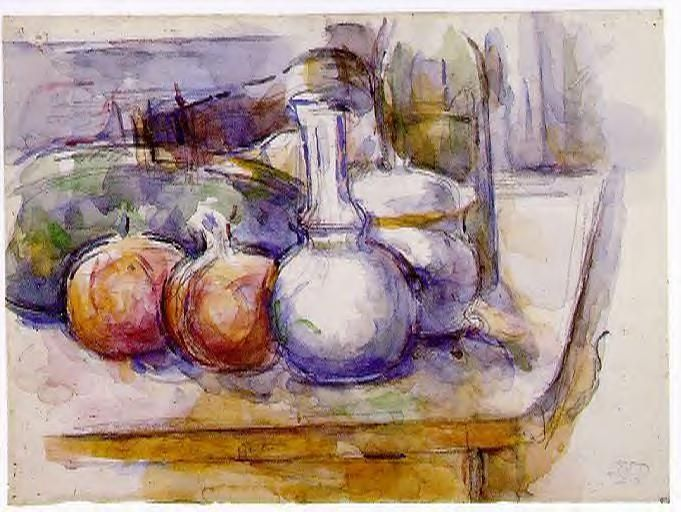 Still Life with Carafe, Sugar Bowl, Bottle, Pommegranates and Watermelon, 1906, Paul Cézanne