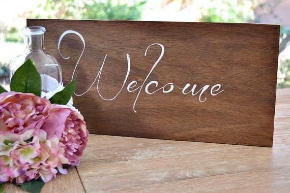 Welcome Cartel Madera Caligrafía Boda Cartel Boda por handANAhada