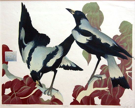 Murray Griffin(Australian, 1903-1992) Magpies 1935 Linocut