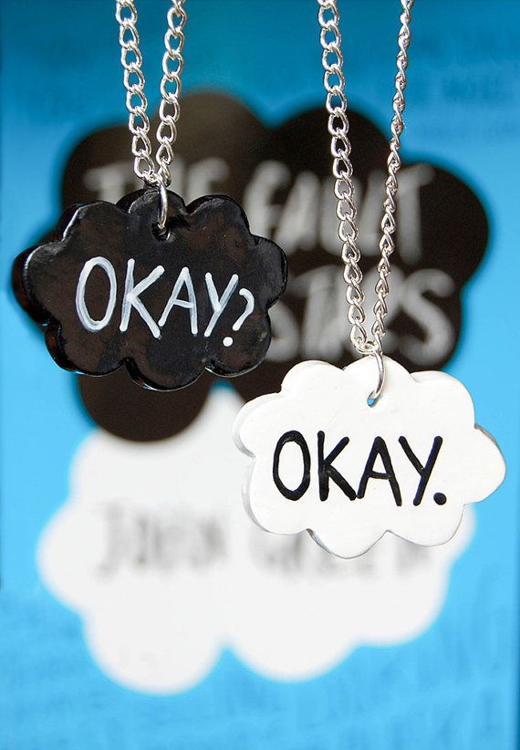Okay? Okay. The Fault In Our Stars by John Green inspired friendship necklaces. Available on Etsy.