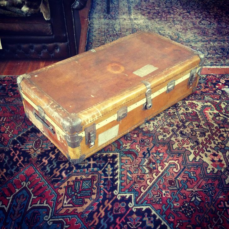 Vintage Argentinian Tan Leather Trunk with Metal Detailing - R8500