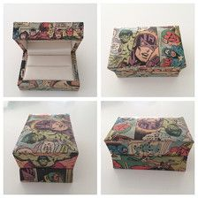 My wooden wedding ring boxes are made to order. You are able to choose which Superhero characters you would like.  They are covered in vintage comics….