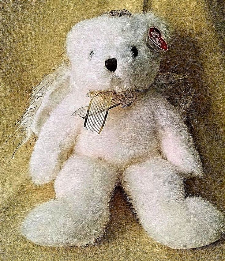 TY TEDDY BEAR DIVINE ANGEL NWT NEW 2001 WHITE PLUSH WINGS GOLD 14 INCH WITH TAG. #Ty