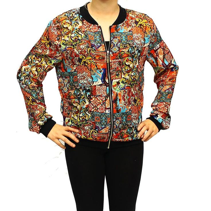 Multi Coloured Zip Up Bomber Jacket