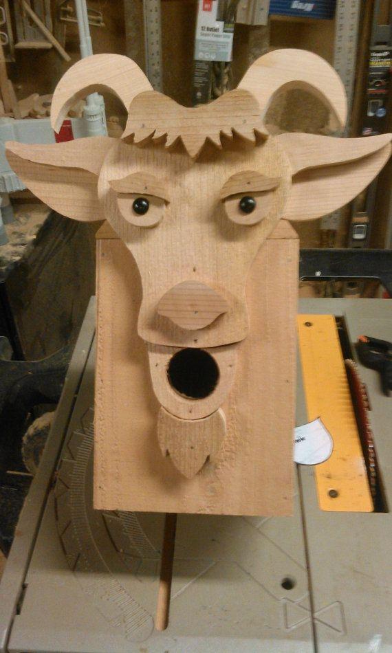 cedar goat birdhouse by DarrylRossWoodworks on Etsy
