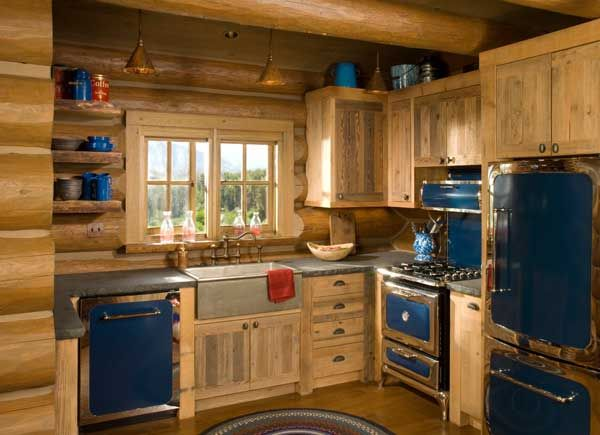 Rustic kitchen love the blue retro appliances with the for Log cabin kitchen backsplash ideas