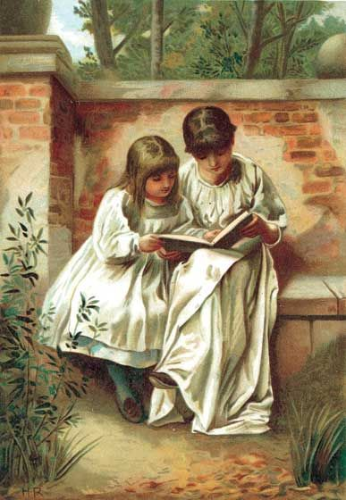 Sisters Reading Art Print | Book Lovers Anytime Art Prints