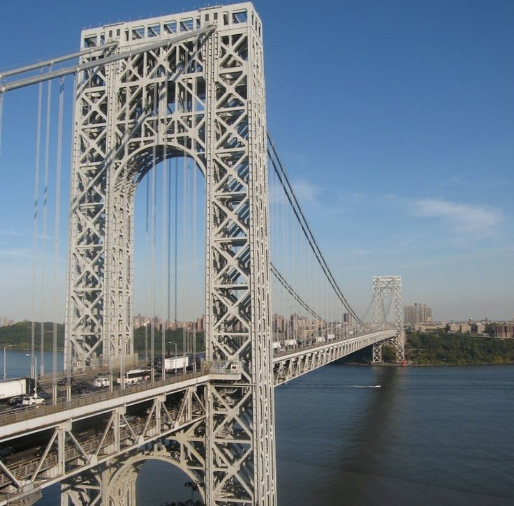 The double-decked George Washington Bridge, connecting New York City to Bergen County, New Jersey, USA, is the world's busiest bridge, carrying 102 million vehicles annually.[1][2]