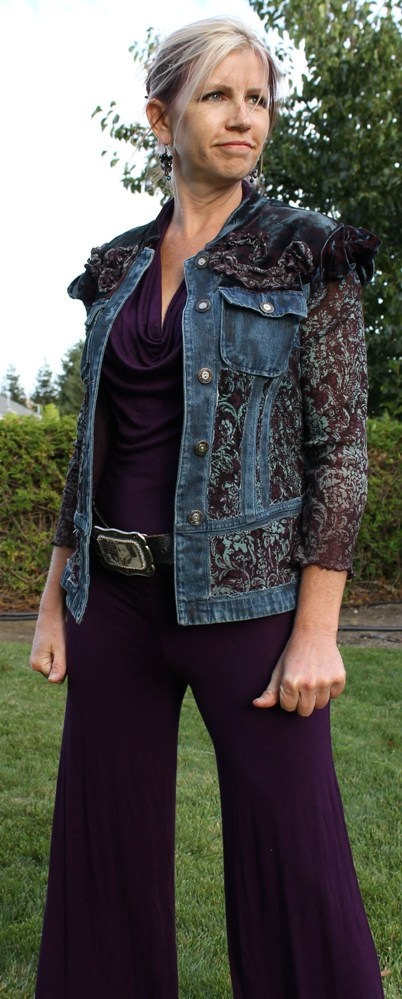 make ooak jacket, remove sleeves, make fabric sleeves