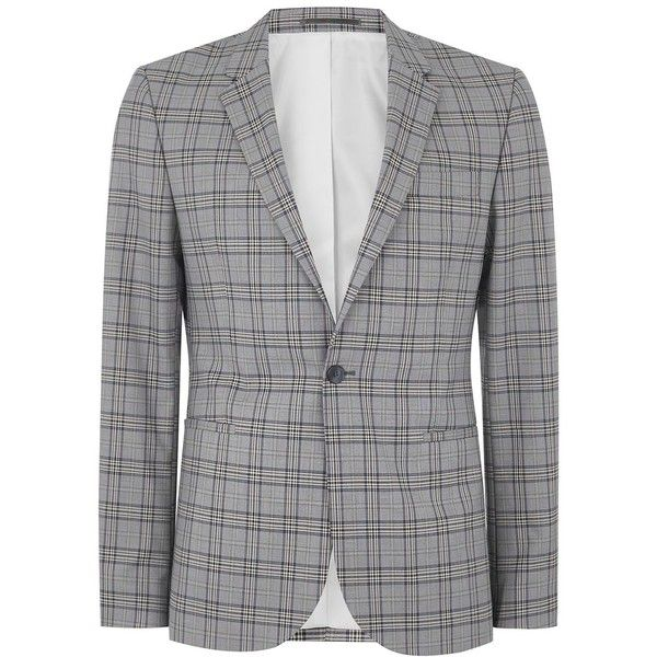 TOPMAN Blue and Grey Check Ultra Skinny Suit Jacket (€120) ❤ liked on Polyvore featuring men's fashion, men's clothing, men's outerwear, men's jackets, multi, mens polyester jackets, mens gray leather jacket, mens grey jacket and mens blue jacket