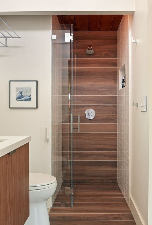 Really interesting: ceramic wood tiles in the shower.