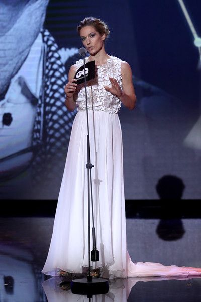 Lisa Martinek speaks on stage at the GQ Men of the year Award 2016 show (german: GQ Maenner des Jahres 2016) at Komische Oper on November 10, 2016 in Berlin, Germany.