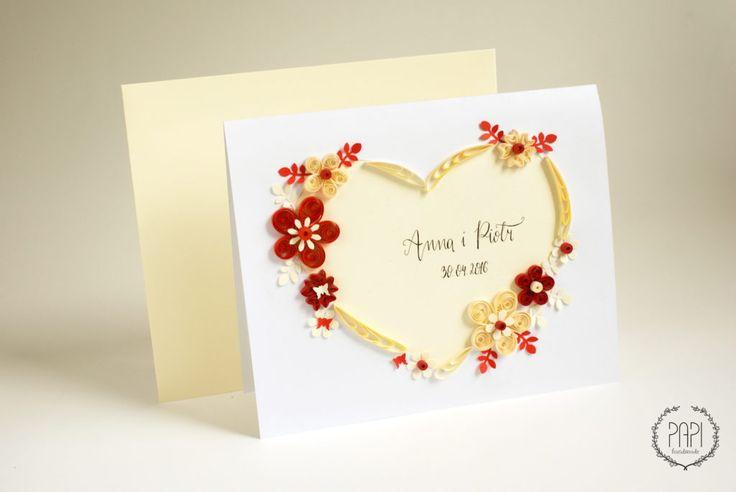 telegram na ślub kwiaty quilling