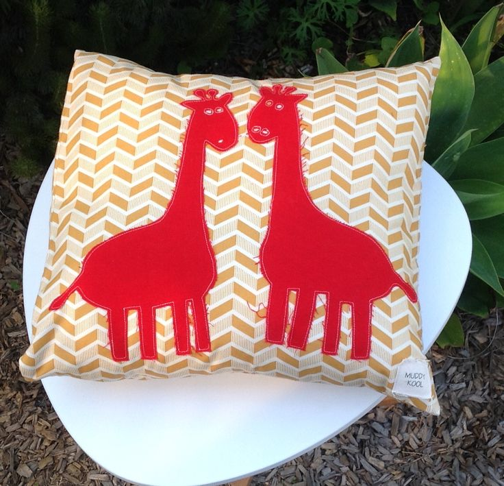 Two Red Giraffes cotton cushion cover by MuddyKoolDesigns on Etsy