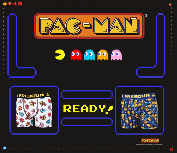 The little yellow guy who eat the Pac-gomme path enters on the Freegun story...  Indeed, the Pac Man world is on your boxer to offer you a new underwear range !  Discover the entire collection on our website.