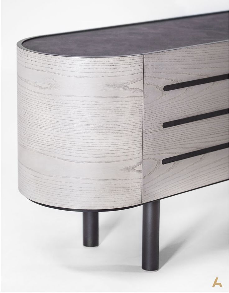Kirko | Sideboard. Curves, metal and lacquer, in harmony with oak and hard surfaces. Designed by George Bosnas.