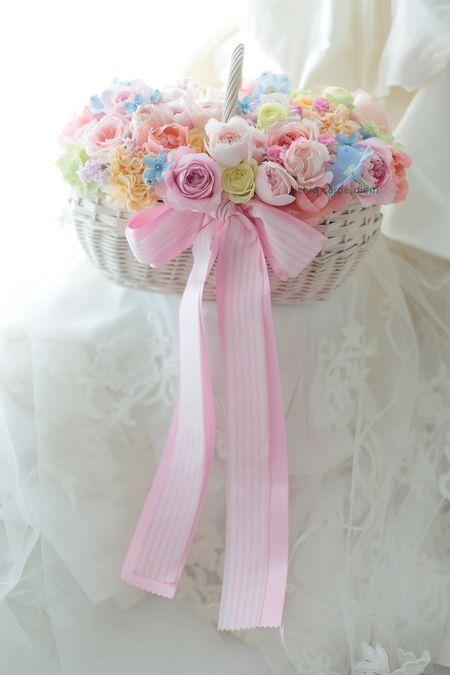 バスケットブーケ 椿山荘東京さまへ お問い合わせはおはやめに : 一会 ウエディングの花