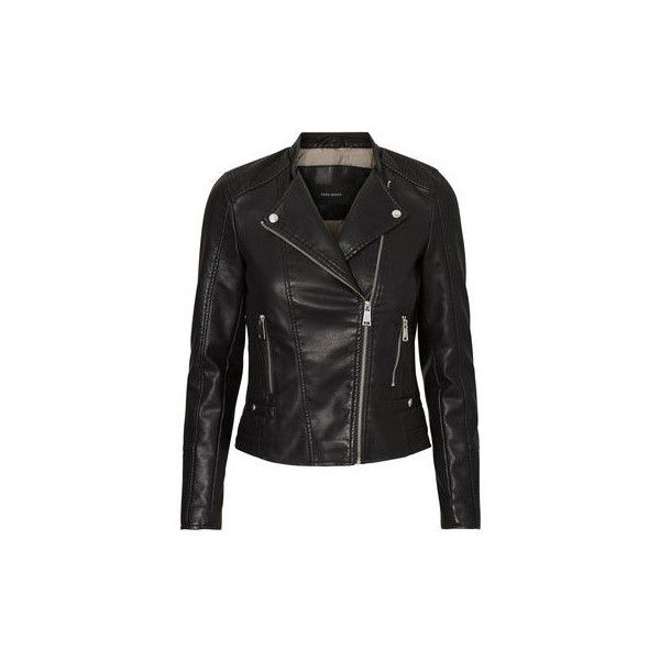 SHORT LEATHER-LOOK JACKET Vero Moda via Polyvore featuring outerwear, jackets, zip pocket jacket, vegan leather jacket, zip jacket, faux leather zip jacket en vegan leather biker jacket