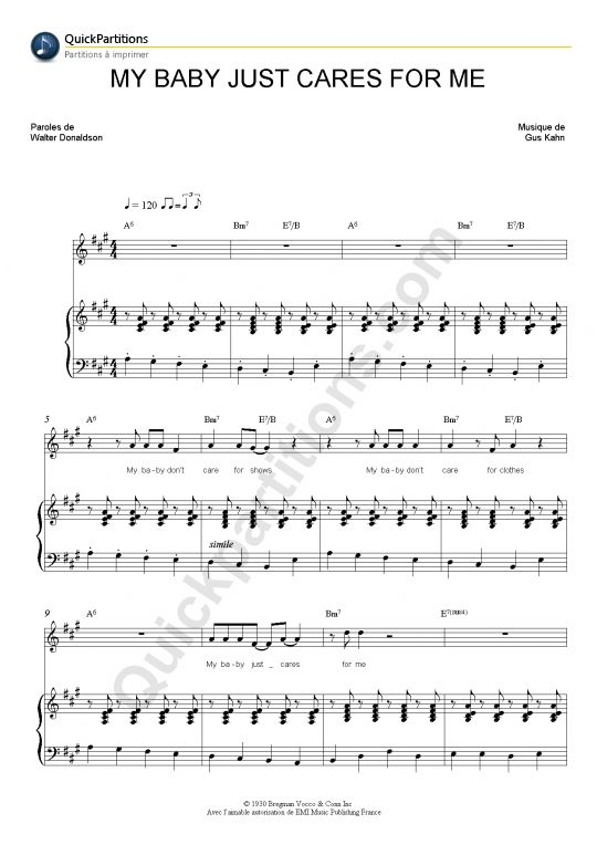 Partition Piano My Baby Just Cares For Me - Nina Simone
