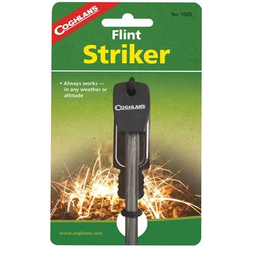Flint Striker Fire-Starter Outdoor Store Flint Striker Fire-Starter Manufacture ID: 1005 This ferro-cerrium fire-starting tool lasts for thousands of strikes! Pushing the striker provided down the rod emits sparks to light combustibles. Fireproof in solid form, the tool works just as well when wet. For use in any weather and at any altitude. Includes handle, striker, fire-starter rod and ... http://campgear.co/shop//camping-fire-starting-575/flint-striker-fire-starter-gs72766/