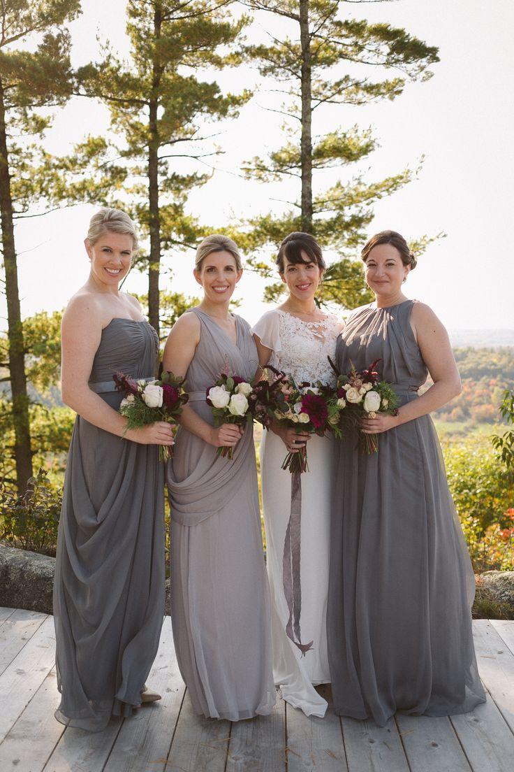 Elegant grey bridesmaids gown; VENUE Le Belvedere Wakefield Quebec; PHOTOGRAPHY Joel + Justyna Bedford;