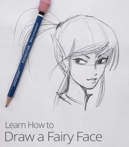 Learn how to draw a pretty fairy face with this lesson from cartoonist and best-selling author Chris Hart! #Drawing