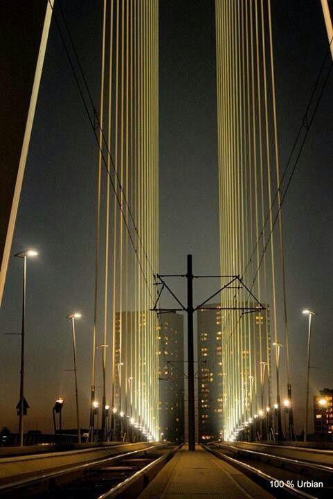 Tegenwoordig zijn bruggen heel sterk en worden ze 's nachts verlicht. (Rotterdam)