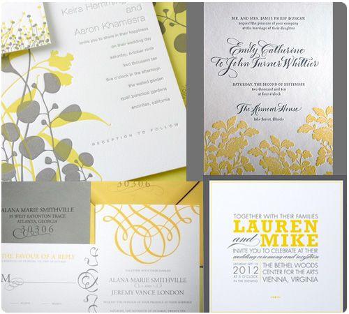yellow & grey wedding invitations